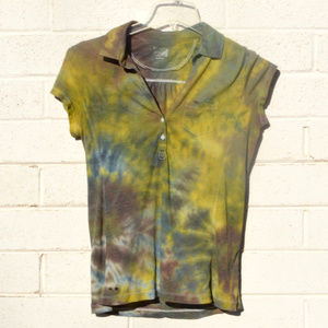 Converse Cotton Tie Dyed Shirt Capped Sleeve OOAK